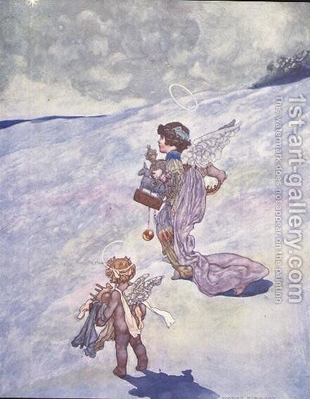Christmas Angels with Toys by Charles Robinson - Reproduction Oil Painting