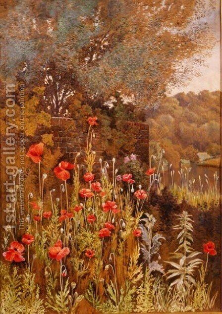 Poppies on a River Bank by Charles Robertson - Reproduction Oil Painting