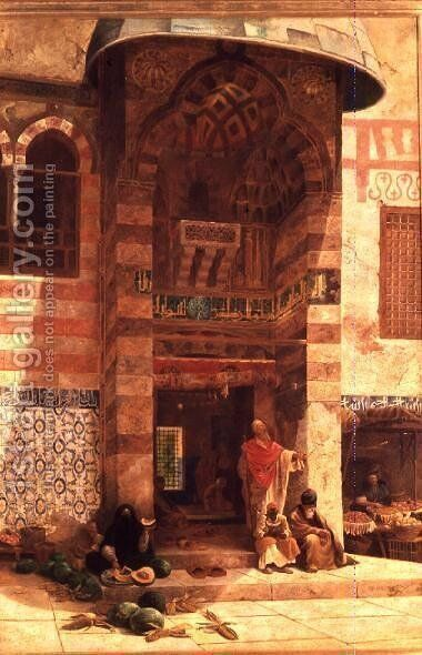 Outside the Mosque by Charles Robertson - Reproduction Oil Painting