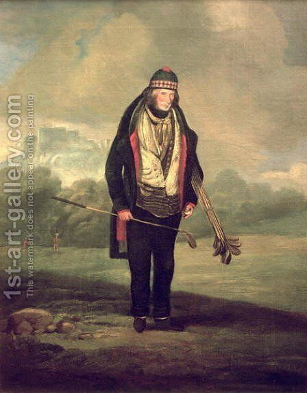 Caddie Willie at Bruntsfield, Edinburgh, 1824 by C.H Robertson - Reproduction Oil Painting