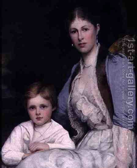 Wife and Son of the 3rd Earl of Morley by Ellis William Roberts - Reproduction Oil Painting
