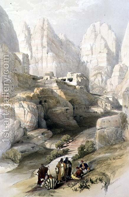 Petra, March 10th 1839, plate 104 from Volume III of 'The Holy Land, engraved by Louis Haghe 1806-85 pub. 1849 by David Roberts - Reproduction Oil Painting