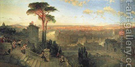 Rome, Sunset from the Convent of San Onofrio on Mount Janiculum, 1856 by David Roberts - Reproduction Oil Painting