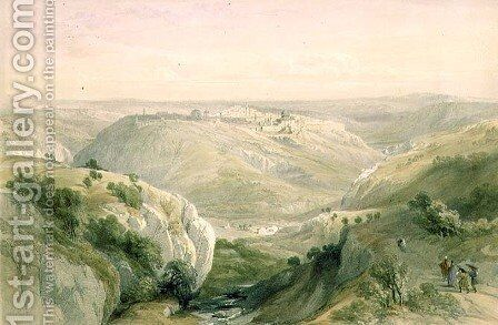 Jerusalem from the South, April 12th 1839, plate 10 from Volume I of The Holy Land, engraved by Louis Haghe 1806-85 pub. 1842 by David Roberts - Reproduction Oil Painting