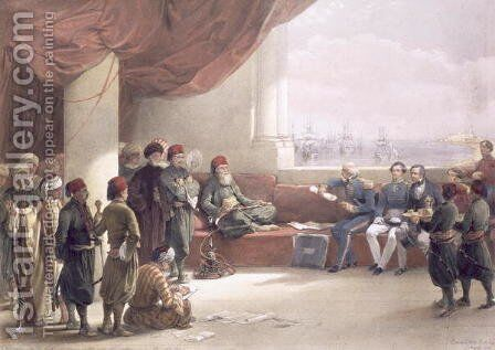 Interview with the Viceroy of Egypt at his palace at Alexandria, May 12th 1839, from Egypt and Nubia, Vol.3 by David Roberts - Reproduction Oil Painting