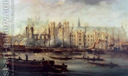 The Burning of the Houses of Parliament, 16th October 1834 by David Roberts - Reproduction Oil Painting