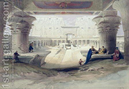 View from under the Portico of Temple of Edfou, Upper Egypt, plate 32 from Volume I of Egypt and Nubia, engraved by Louis Haghe 1806-85 pub. 1846 by David Roberts - Reproduction Oil Painting
