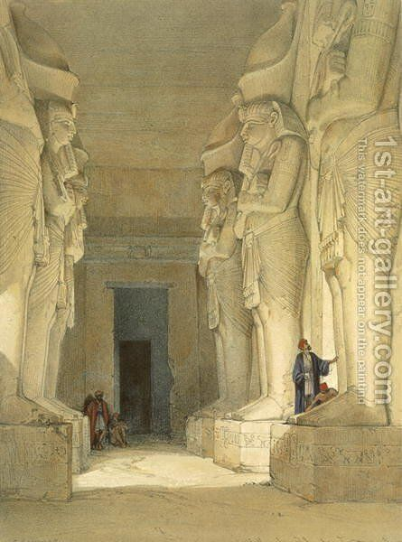 Excavated Temple of Gysha, Nubia, from Egypt and Nubia, Vol.1 by David Roberts - Reproduction Oil Painting