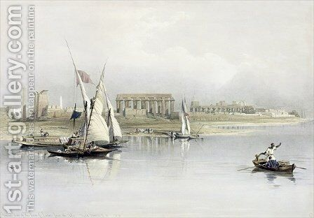 General View of the Ruins of Luxor from the Nile, from Egypt and Nubia, Vol.1 by David Roberts - Reproduction Oil Painting