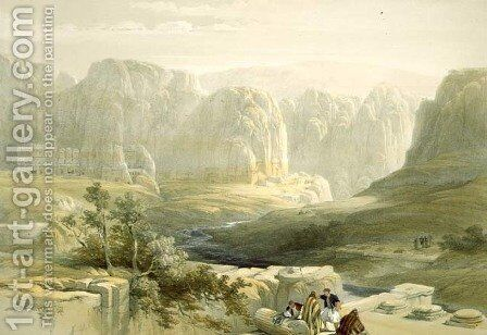 Petra looking South, March 9th 1839, plate 106 from Volume III of The Holy Land, engraved by Louis Haghe 1806-85 pub. 1849 by David Roberts - Reproduction Oil Painting