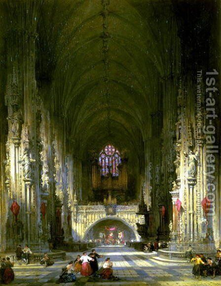 Interior, St. Stephens Vienna by David Roberts - Reproduction Oil Painting