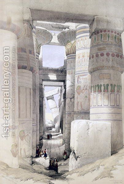 View through the Hall of Columns, Karnak, from Egypt and Nubia, Vol.1 by David Roberts - Reproduction Oil Painting