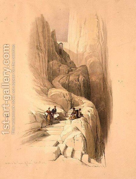 Ascent to the Summit of Sinai, February 20th 1839, plate 115 from Volume III of The Holy Land, engraved by Louis Haghe 1806-85 pub. 1849 by David Roberts - Reproduction Oil Painting