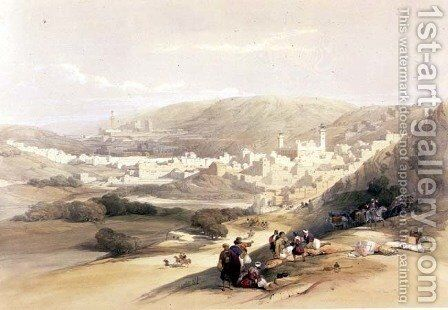 Hebron, March 18th 1839, plate 55 from Volume II of The Holy Land, engraved by Louis Haghe 1806-85 pub. 1843 by David Roberts - Reproduction Oil Painting