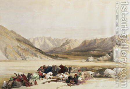 Approach to Mount Sinai, Wady Barah, February 17th 1839, plate 122 from Volume III of The Holy Land, engraved by Louis Haghe 1806-85 pub. 1849 by David Roberts - Reproduction Oil Painting