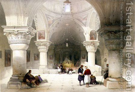 Crypt of the Holy Sepulchre, Jerusalem, plate 20 from Volume I of The Holy Land, engraved by Louis Haghe 1806-85 pub. 1842 by David Roberts - Reproduction Oil Painting