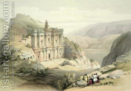 El Deir, Petra, March 8th 1839, plate 90 from Volume III of The Holy Land, engraved by Louis Haghe 1806-85 pub. 1849 by David Roberts - Reproduction Oil Painting