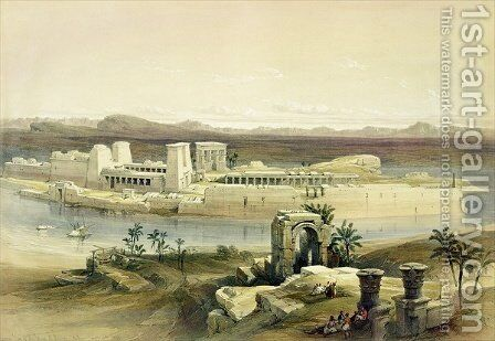 General View of the Island of Philae, Nubia, from Egypt and Nubia, Vol.1 by David Roberts - Reproduction Oil Painting