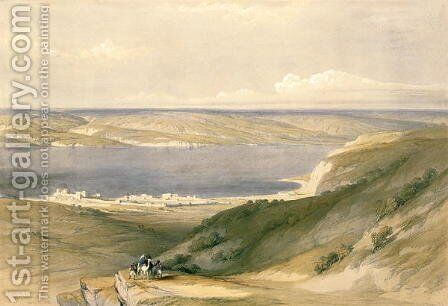 Sea of Galilee or Genezareth, looking towards Bashan, April 21st 1839, plate 36 from Volume I of The Holy Land, engraved by Louis Haghe 1806-85 pub. 1842 by David Roberts - Reproduction Oil Painting