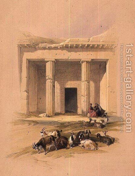 Entrance to the Caves of Bani Hasan, from Egypt and Nubia, Vol.1 by David Roberts - Reproduction Oil Painting