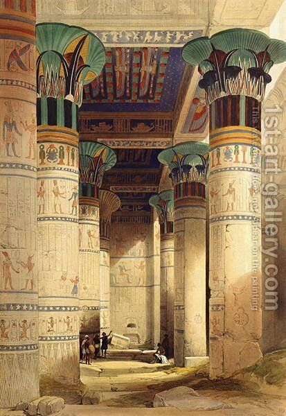 View under the Grand Portico, Philae, from Egypt and Nubia, Vol.1 by David Roberts - Reproduction Oil Painting