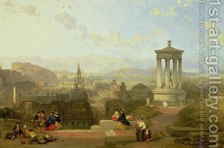 Edinburgh from the Calton Hill view looking West by David Roberts - Reproduction Oil Painting