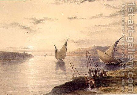 Hager Setsilis, from Egypt and Nubia, Vol.1 by David Roberts - Reproduction Oil Painting