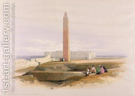 Obelisk at Alexandria, commonly called Cleopatras Needle, from Egypt and Nubia, Vol.1 by David Roberts - Reproduction Oil Painting