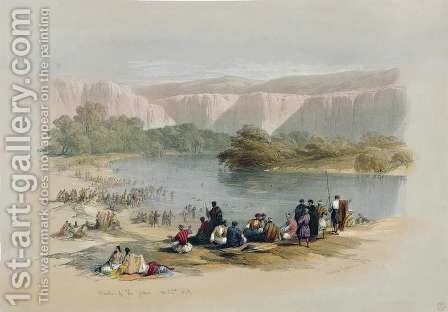Banks of the Jordan, April 2nd 1839, plate 48 from Volume II of The Holy Land, engraved by Louis Haghe 1806-85 pub. 1843 by David Roberts - Reproduction Oil Painting