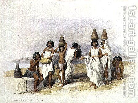 Nubian Women at Kortie on the Nile, from Egypt and Nubia, Vol.1 by David Roberts - Reproduction Oil Painting