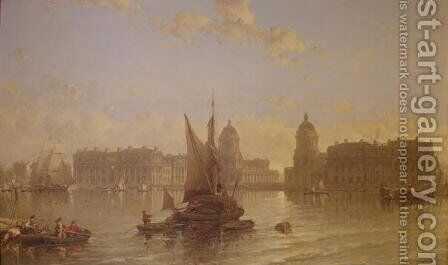 Shipping on the Thames at Greenwich by David Roberts - Reproduction Oil Painting