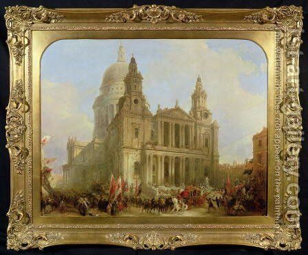 St. Pauls Cathedral with the Lord Mayors Procession, 1836 by David Roberts - Reproduction Oil Painting