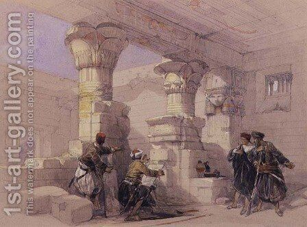 View from under the Portico of Dayr E Medeeneh, Thebes by David Roberts - Reproduction Oil Painting