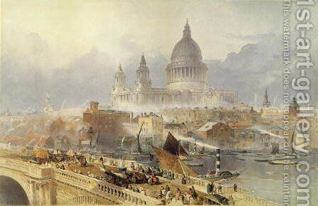 St. Pauls Cathedral from Blackfriars Bridge by David Roberts - Reproduction Oil Painting