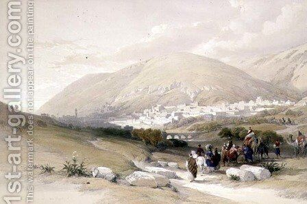 Nablous, ancient Shechem, April 17th 1839, plate 42 from Volume I of The Holy Land, engraved by Louis Haghe 1806-85 pub. 1842 by David Roberts - Reproduction Oil Painting