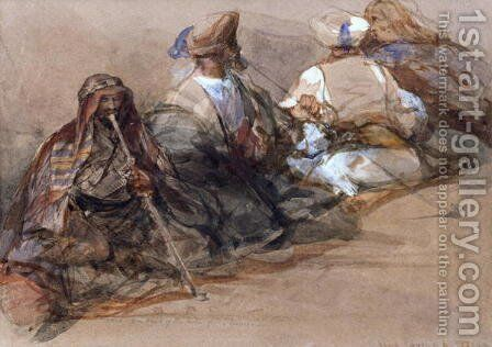Group of Arab figures, two smoking a cubuk by David Roberts - Reproduction Oil Painting