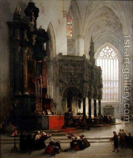 The Shrine of St. Gomar at Lierre, Belgium, 1849 by David Roberts - Reproduction Oil Painting