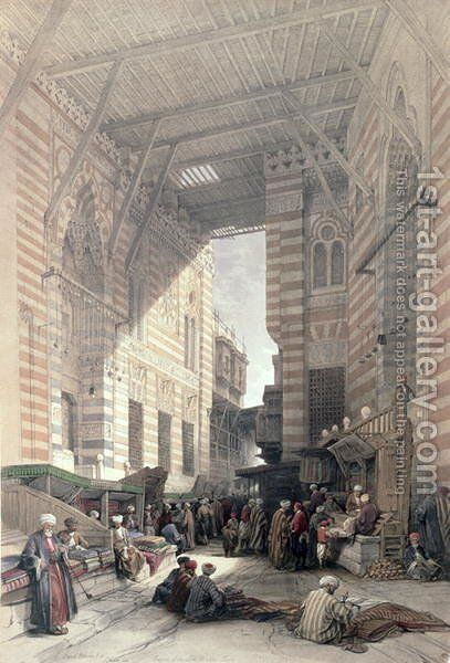 Bazaar of the Silk Merchants, Cairo, from Egypt and Nubia, Vol.3 by David Roberts - Reproduction Oil Painting