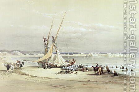 Tsur, ancient Tyre, April 27th 1839, plate 69 from Volume II of The Holy Land, engraved by Louis Haghe 1806-85 pub. 1843 by David Roberts - Reproduction Oil Painting