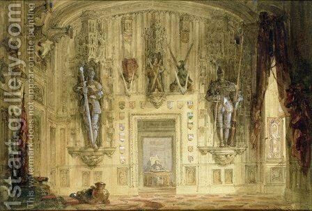 Abbotsford, the Hall, 1834 by David Roberts - Reproduction Oil Painting