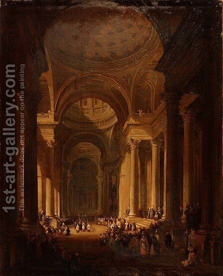 The Interior of the Cathedral of St. Genevieve, Paris by David Roberts - Reproduction Oil Painting