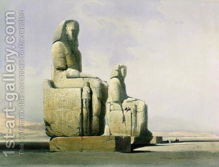 Thebes, December 4th 1838, detail of the colossi of Memnon, plate 12 from Volume I of Egypt and Nubia, engraved by Louis Haghe 1806-85 pub. 1846 by David Roberts - Reproduction Oil Painting