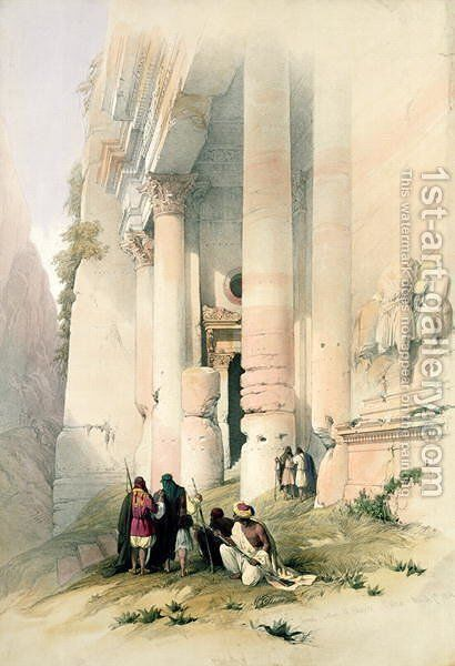 Temple called El Khasne, Petra, March 7th 1839, plate 94 from Volume III of The Holy Land, engraved by Louis Haghe 1806-85 pub. 1849 by David Roberts - Reproduction Oil Painting