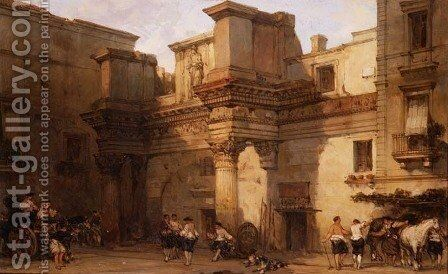 The Palace of Minerva, Rome, 1859 by David Roberts - Reproduction Oil Painting