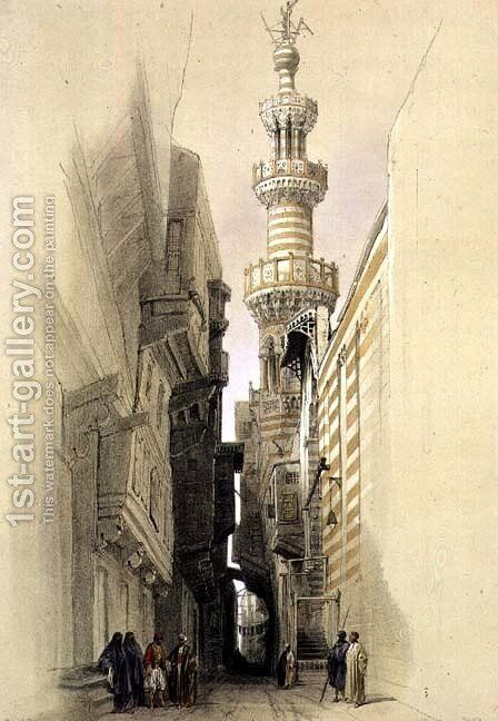 The Minaret of the Mosque of El Rhamree, Cairo, from Egypt and Nubia, Vol.3 by David Roberts - Reproduction Oil Painting