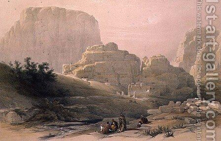 Lower End of the Valley showing the Acropolis, Petra, March 9th 1839, plate 102 from Volume III of The Holy Land, engraved by Louis Haghe 1806-85 pub. 1849 by David Roberts - Reproduction Oil Painting