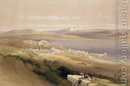 City of Tiberias on the Sea of Galilee, April 22nd 1839, plate 38 from Volume I of The Holy Land, engraved by Louis Haghe 1806-85 pub. 1842 by David Roberts - Reproduction Oil Painting