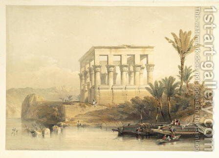 The Hypaethral Temple at Philae, called the Bed of Pharaoh, plate 65 from volume II of Egypt and Nubia, engraved by Louis Haghe 1806-85 pub. 1849 by David Roberts - Reproduction Oil Painting