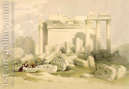 Ruins of the Eastern Portico of the Temple of Baalbec, May 6th 1839, plate 83 from Volume II of The Holy Land, engraved by Louis Haghe 1806-85 pub. 1843 by David Roberts - Reproduction Oil Painting