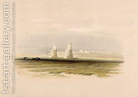 The Colossi of Memnon, from Egypt and Nubia, Vol.1 by David Roberts - Reproduction Oil Painting